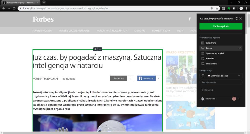 Evernote - plugin Chrome - nożyczki sieciowe