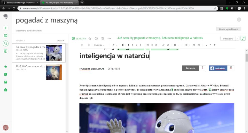 Evernote - strona wycięta przy pomocy Nożyczek sieciowych - pluginu do Chrome