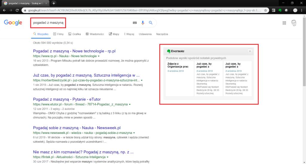 Podpowiedź podczas wyszukiwania w google