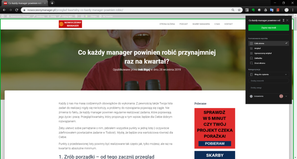 Rozszerzenia Chrome - Evernote web Clipper
