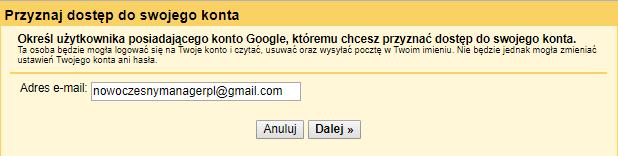 Jak udostępnić Gmail - podaj adres