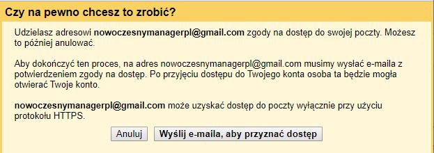 Jak udostępnić Gmail - potwierdź