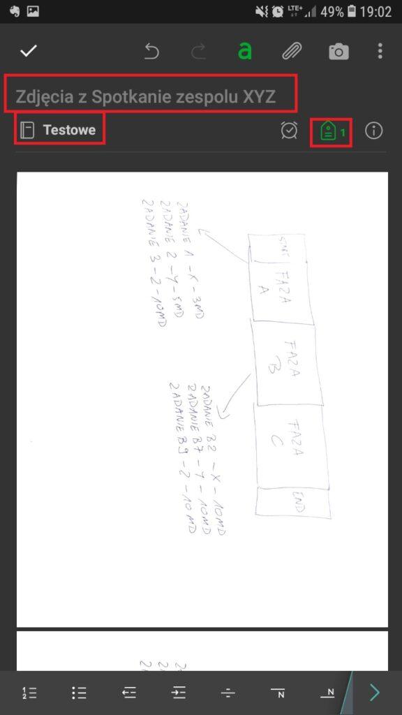 Notatka ze spotkania w Evernote