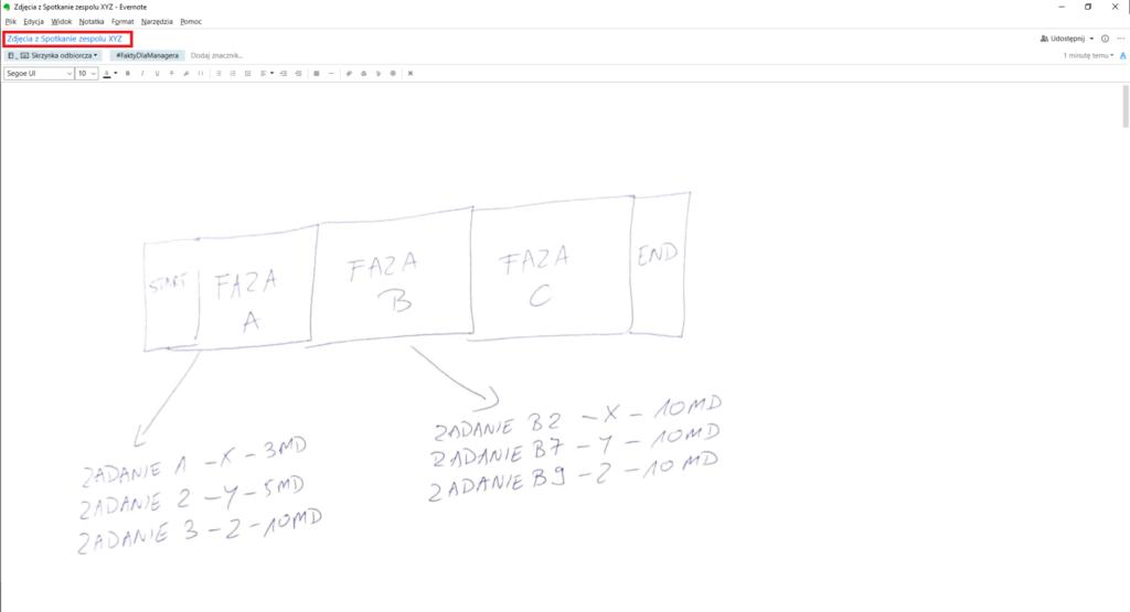 A tak wygląda notatka w Evernote