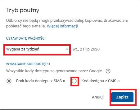 Jak zabezpieczyć mail -> tryb poufny